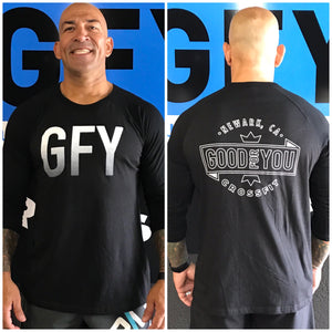 Black GFY 3/4 Sleeve Baseball Tee