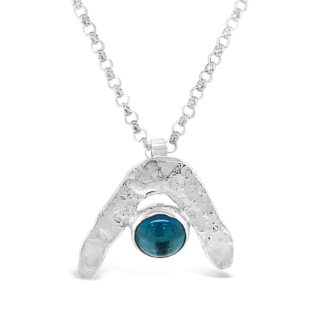 Boomerang Wave Necklace in London Blue Topaz