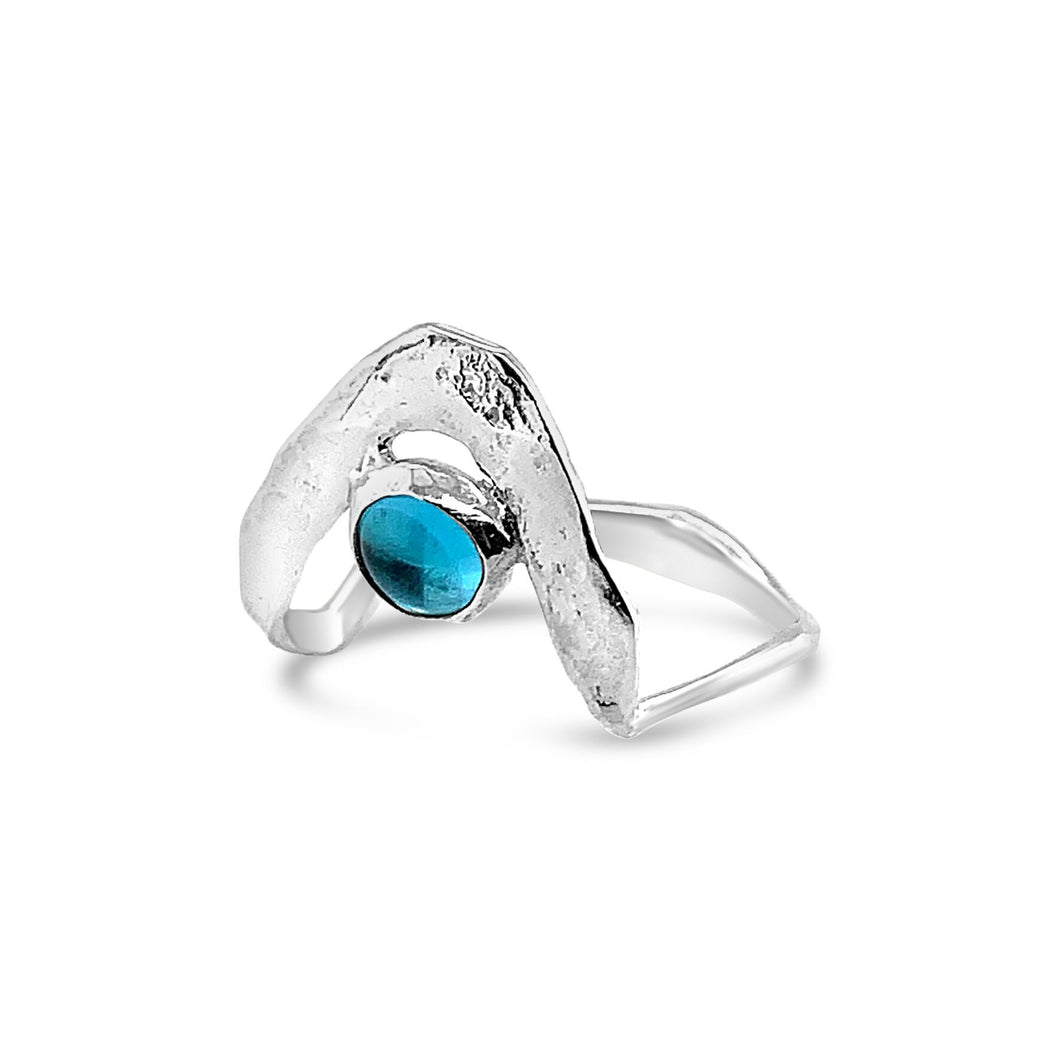 Boomerang Wave Ring in Swiss Blue Topaz