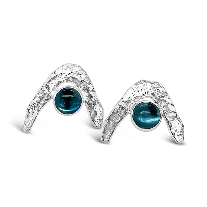 Boomerang Wave Earrings in London Blue Topaz
