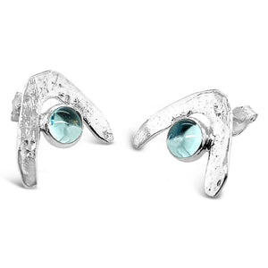 Boomerang Wave Earrings in Sky Blue Topaz