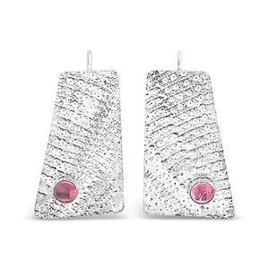 Sea Urchin Sterling Silver Earrings with Pink Tourmaline