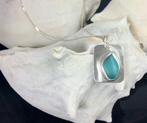 Aqua Blue Sea Glass Brushed Sterling Silver Necklace
