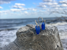 Sea Glass Hook Earrings in 14K Gold
