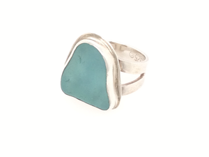 Deep Aqua Blue Sea Glass Ring