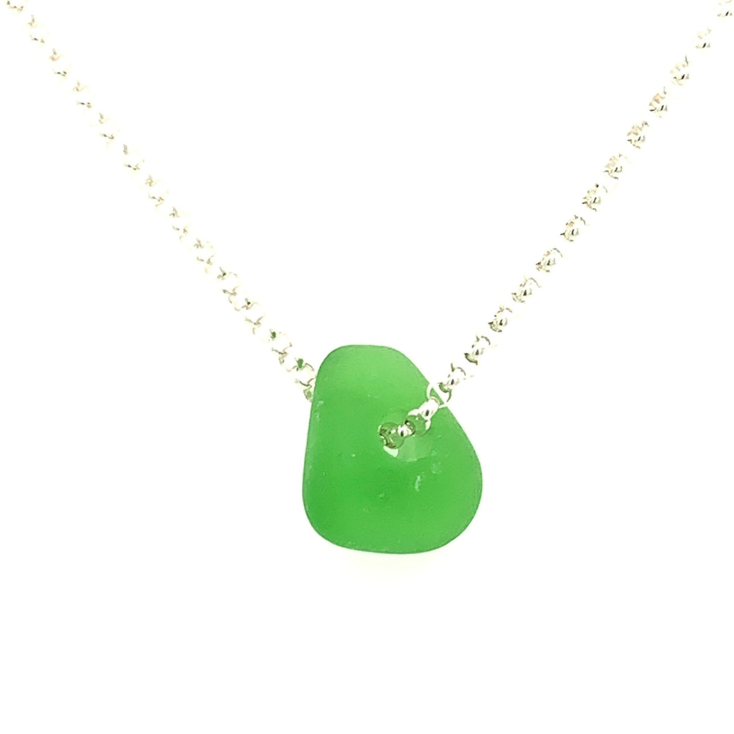 Kelly Green Sea Glass Sterling Silver or 14K White Gold Necklace
