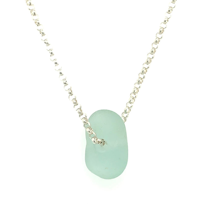 Aqua Blue Sea Glass Sterling Silver or 14K White Gold Necklace