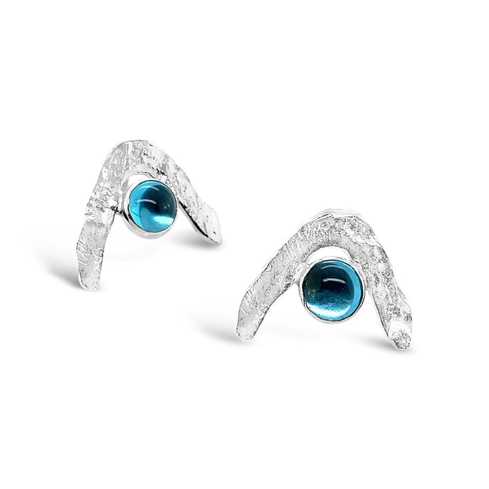 Boomerang Wave Earrings in Swiss Blue Topaz