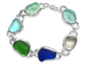 Sea Glass Sterling and Fine Silver Set Bracelet