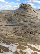 Sea Glass Necklace in Solid 14K Gold