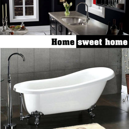 Split image showing kitchen counter with sink, bathroom with claw foot bathtub