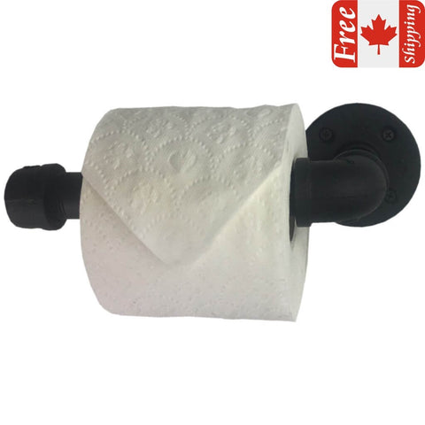 Industrial pipe toilet roll holder with matte black finish front view and a Canadian flag with the word Free Shipping in the top right corner