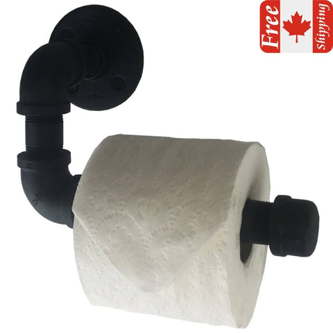 Industrial pipe toilet roll holder with matte black finish front view and a Canadian flag with Free Shipping written on it in the top right corner