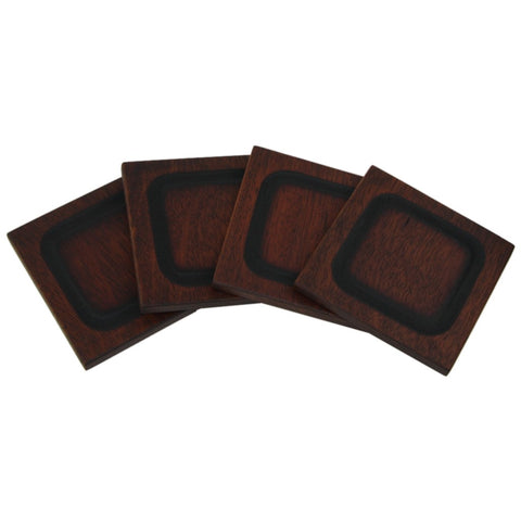 Four dark walnut stained Jatoba hardwood coasters displayed in a fan shape.