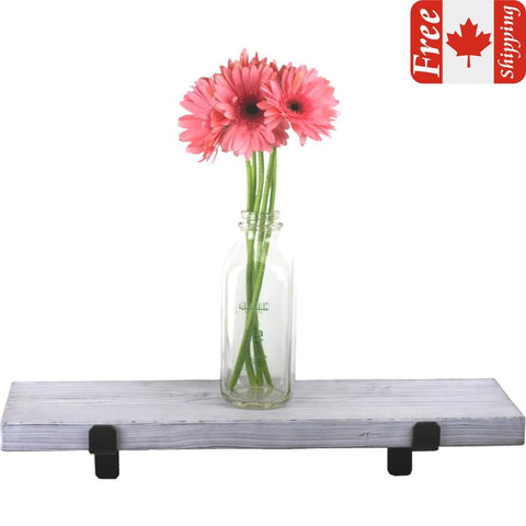Rustic White farmhouse style shelf with a pink flowers in a glass milk jar and a Canadian flag reading Free Shipping in the top right corner