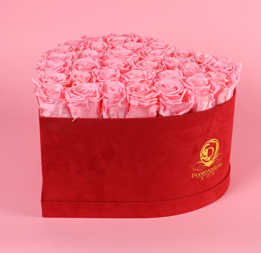 Red Velvet Heart Box with Large Roses