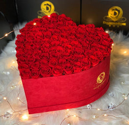 Red Velvet Heart Box with Mini Roses