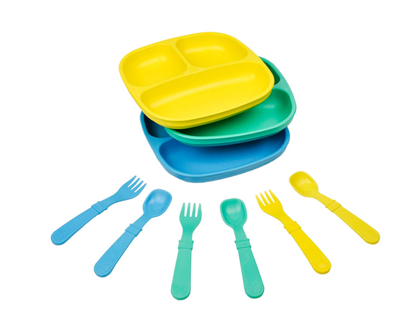 Dinnerware Sets - 3pk Divided Plates with Matching Utensils Sets