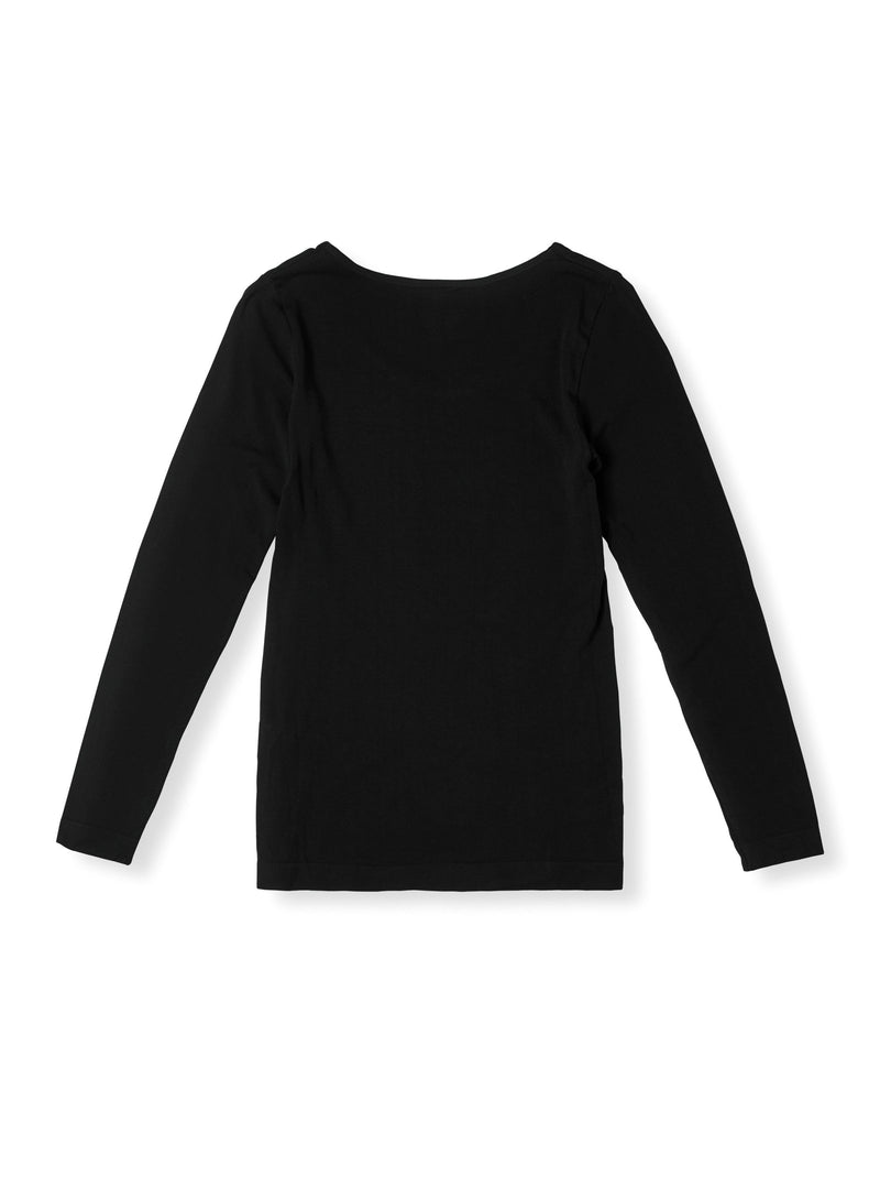 Crew Neck Long Sleeve Top Black