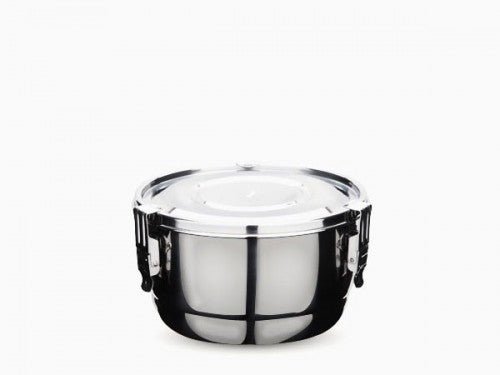 3 Clip Airtight Stainless Steel Food Storage Container 10 cm