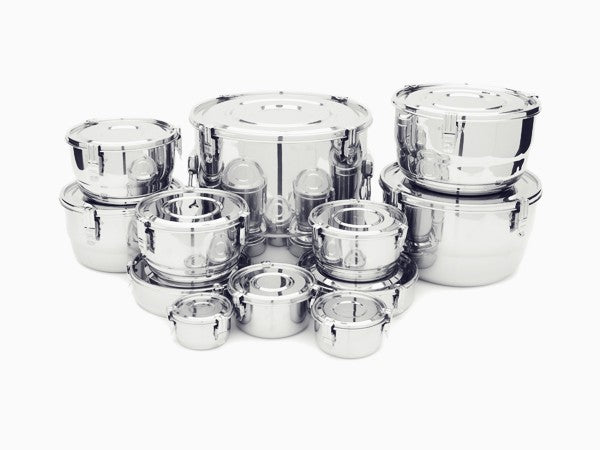 3 Clip Airtight Stainless Steel Food Storage Containers (11 sizes)