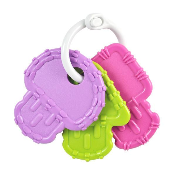 3 Teething Keys - Purple, Bright Pink and Green