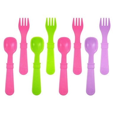 Utensils in Butterfly - Lime Green, Bright Pink and Purple