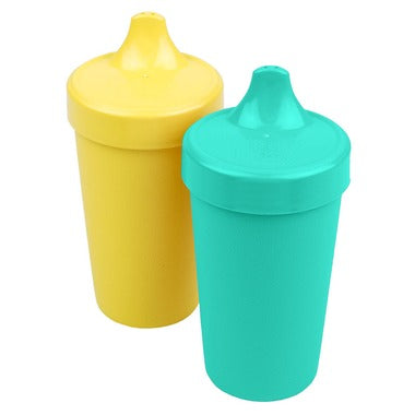 No-Spill Sippy Cups in Aqua and Yellow