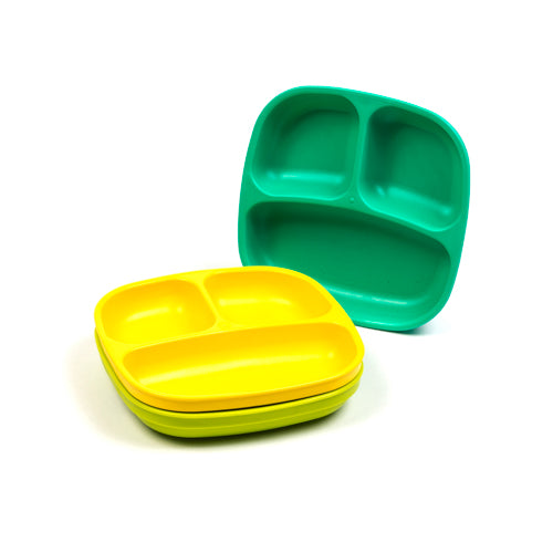 3 Pack Divided Plates in Aqua, Lime Green and Yellow