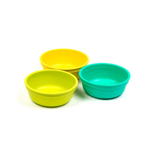 Bowls in Aqua, Lime Green and Yellow