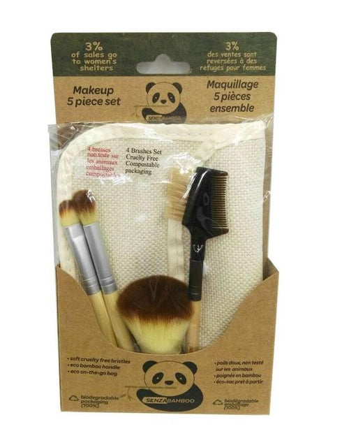 5 Piece Bamboo Makeup Brush Set