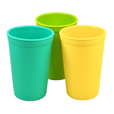 Drinking Cups in Aqua, Yellow and Lime Green