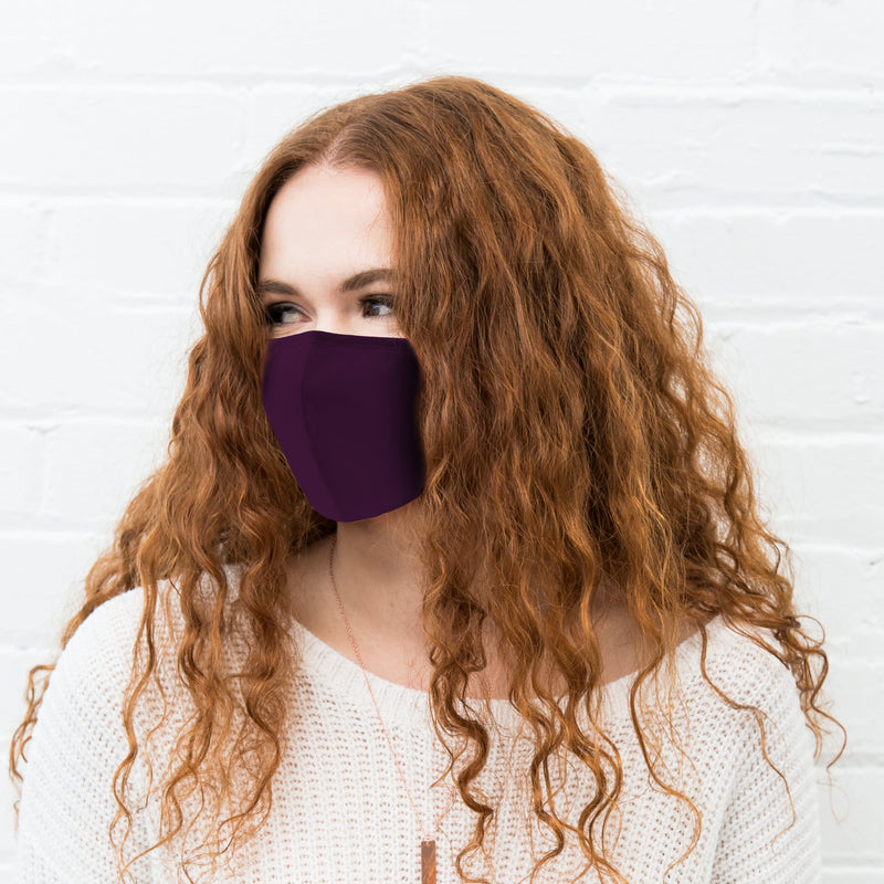 Weddingstar Adult Reusable, Washable 3 Ply Cloth Face Mask With Filter Pocket - Dark Purple