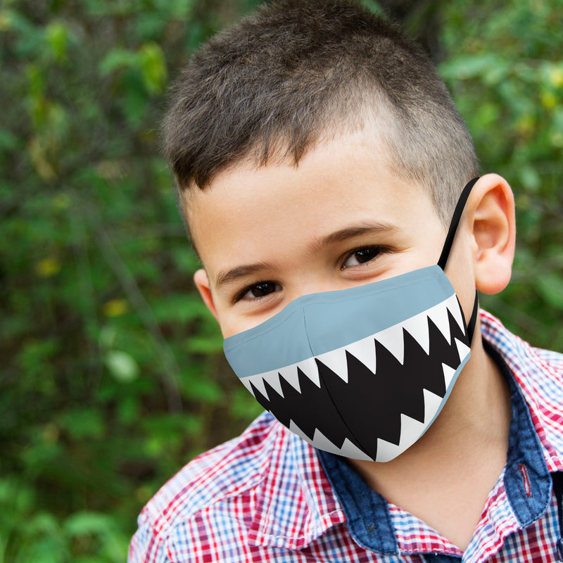 Reusable Non-medical 3 Layer Fabric Face Covering With Filter Pocket For Child - Shark
