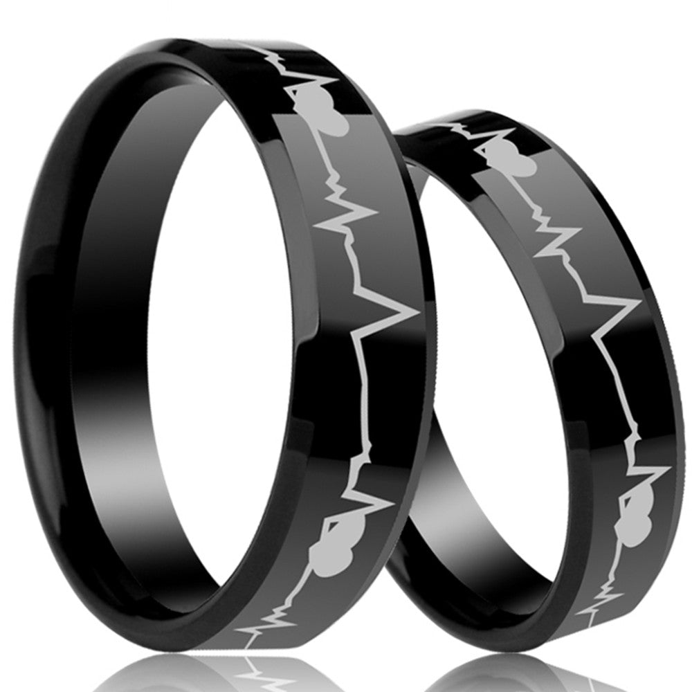 6mm Black Ceartbeat Cardiogram Ring - Dool-X IT Republic