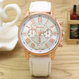 Geneva Casual Leather Wristwatch - White - Dool-X IT Republic
