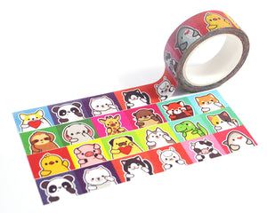 Cute Washi Tape, Dog Washi Tape, Cat Washi Tape, Deco Tape, Giraffe, Otter, Panda, Shark, Veterinarian Gift, Journal Deco - roocharms