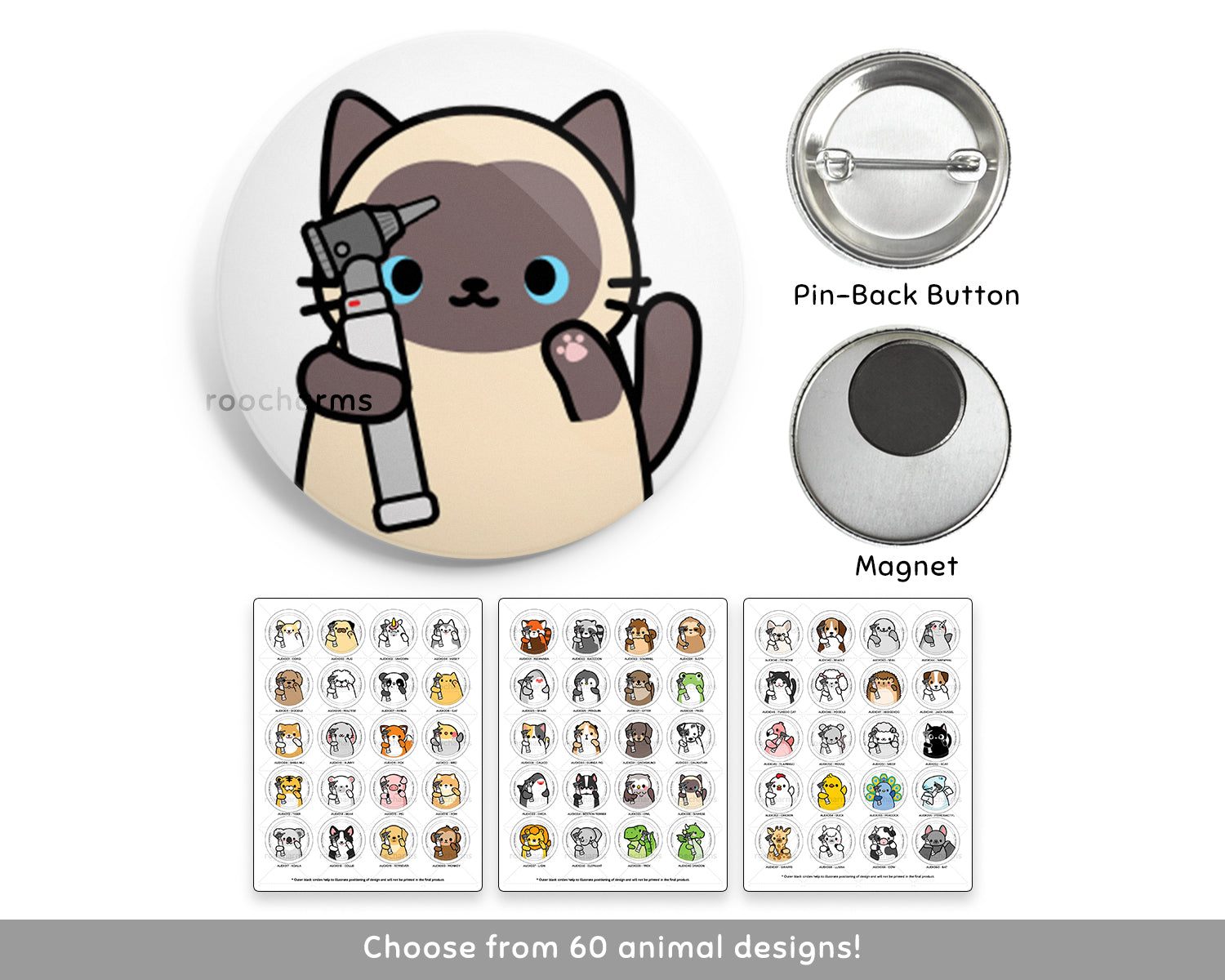 Audiology Animal Buttons or Magnets