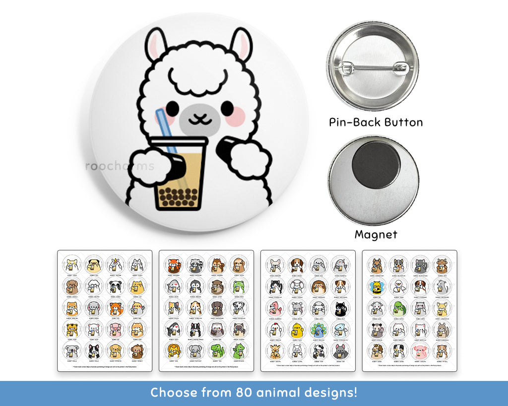 Bubble Tea Animal Buttons or Magnets