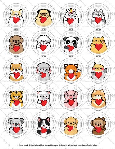 Heart Animal Buttons or Magnets