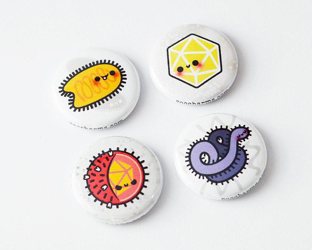 Magnet Set, Button Set, Virus Button, Virus Magnet, Biology Gift, Microbiology Gift, Science Gift - roocharms