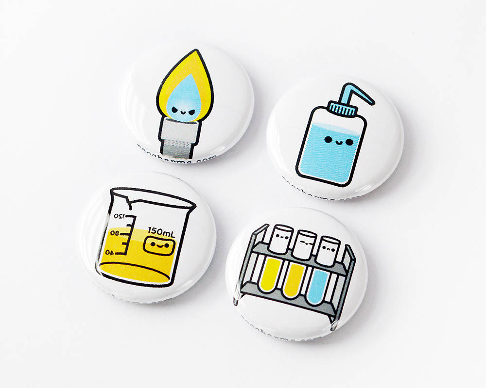 Button Set, Magnet Set, Chemistry Gift, Biology Gift, Lab Equipment, Bunsen burner, beaker, wash bottle, test tube - roocharms