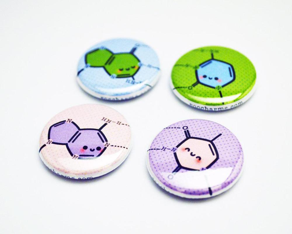 Button Set, Magnet Set, DNA Magnet, DNA, Button, Genetics Gift, Biology Gift, Science Gift - roocharms
