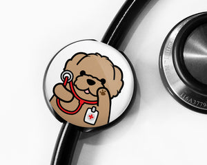 Doodle Stethoscope Tag, Cute Stethoscope Tag, Dog Stethoscope Tag, Personalized Stethoscope Tag, Customizable Stethoscope Tag - roocharms