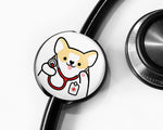 Corgi Stethoscope Tag, Veterinarian Gift, Nurse Gift, Doctor Gift, Cute Stethoscope Tag, Corgi Lover Gift, Healthcare Gift, Nursing Student Gift, Medical Student Gift - roocharms
