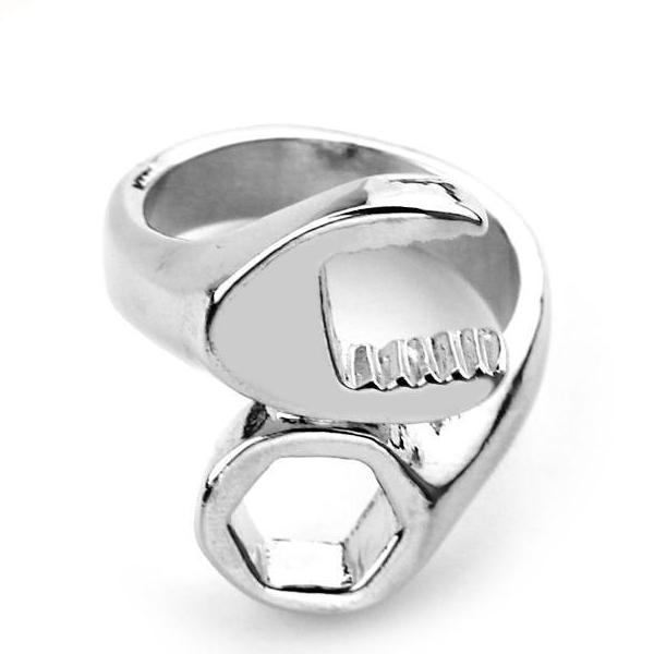Cool Fashion Biker Mechanic Wrench Ring for Men Metal Plating Silver Sizes 7-12 (FREE SHIPPING)