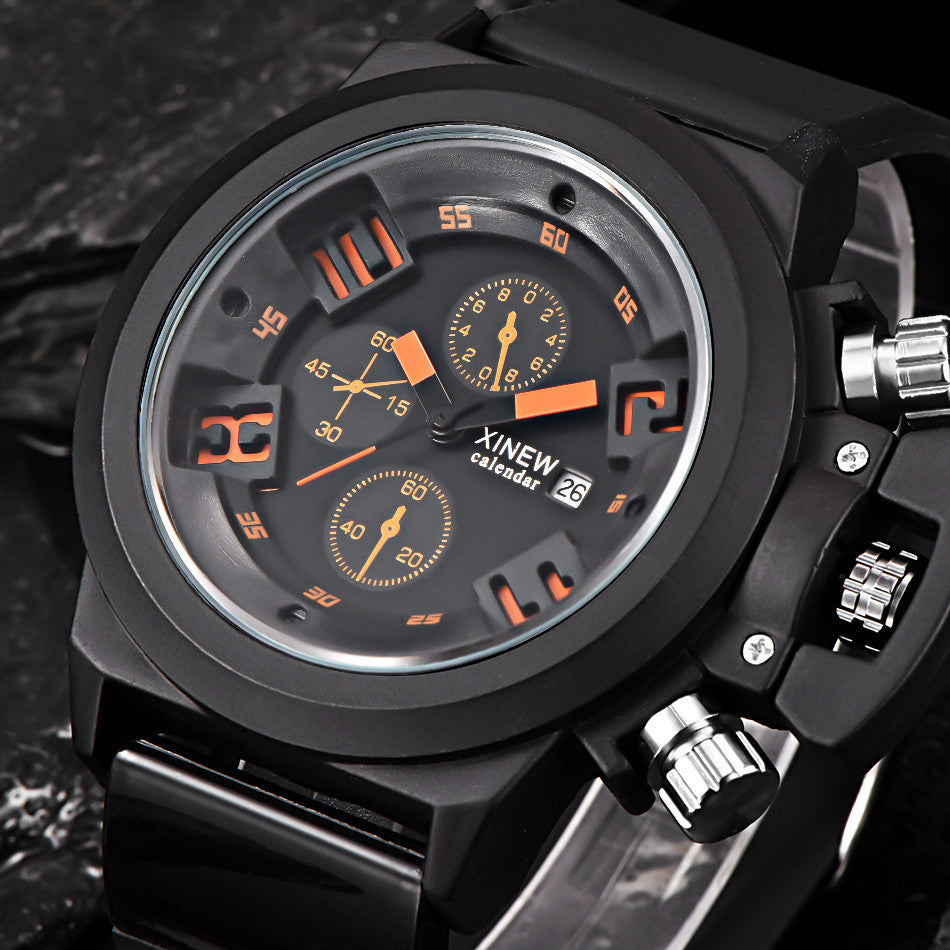 Mens Fashion Silica Sport Date Chronograph Analog Quartz Wrist Watch Waterproof (FREE SHIPPING)