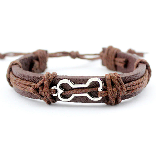 (FREE SHIPPING) Men Jewelry Different Designs: Handcuffs, Dog Bone, Fish Bones, Skulls, Turtle, Bow & Arrow  Charm Leather Bracelets