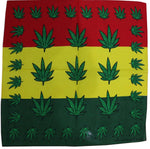 (Free Shipping) 100% Cotton Red Yellow Green Weed leaf Bandana For Men