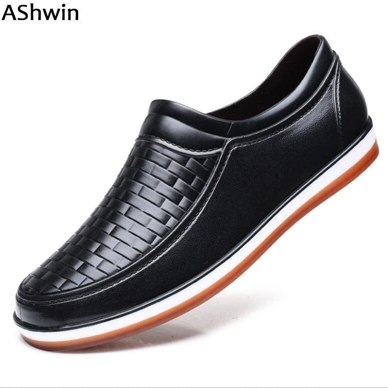 AShwin rainshoes men casual flats waterproof low heels rainboots loafers labor working shoes for kitchen garden non-slip